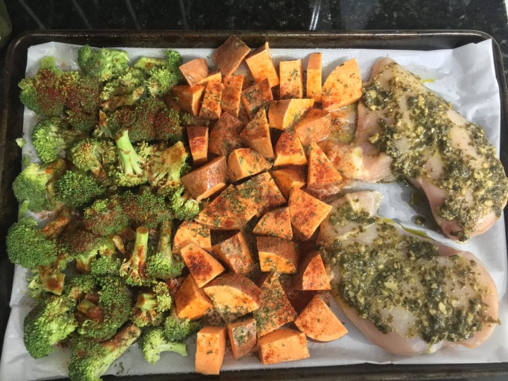 pesto chicken sheet pan dinner