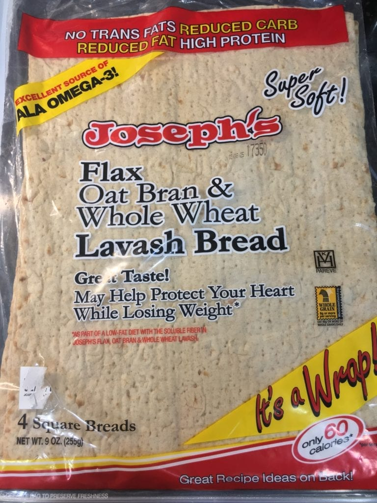One package of Joseph's flat oat bran and whole wheat lavish bread flat bread.