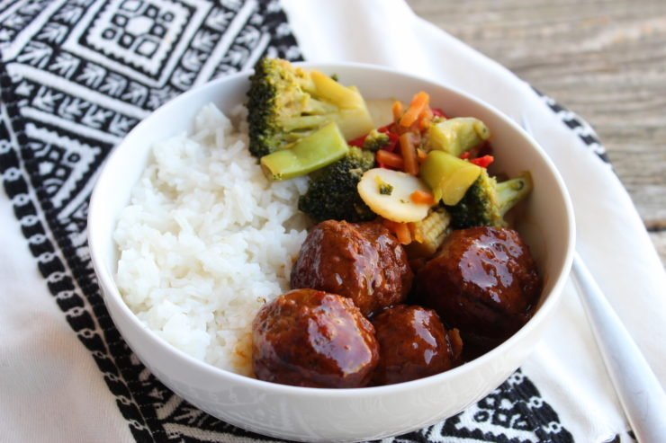 Slow Cooker Asian Meatball Stir Fry Bowl
