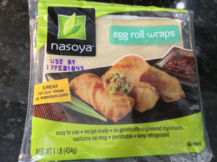 Nasoya egg roll wrappers in the package.