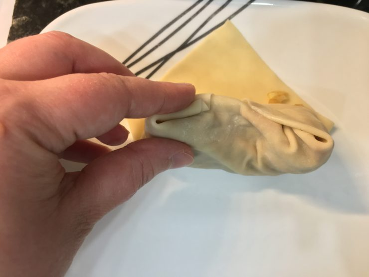 Hand demonstrating how to pinch the edges closed on an egg roll wrapper.