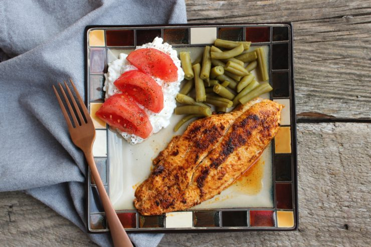 A square plate with a seasoned, blackened catfish fillet, green beans, cottage cheese, and tomatoes.
