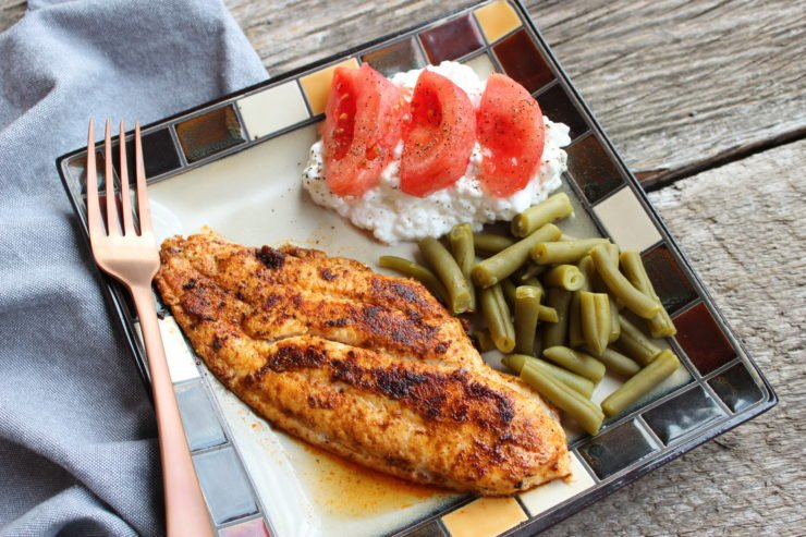A square plate with a seasoned, blackened catfish fillet, green beans, cottage cheese, and tomatoes. A blue towel is placed beside the plate, and a bronze fork is placed on the towel.