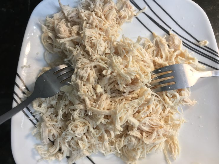 A white plate with black and white stripes and cooked, shredded chicken breast on the plate with two forks on the side.
