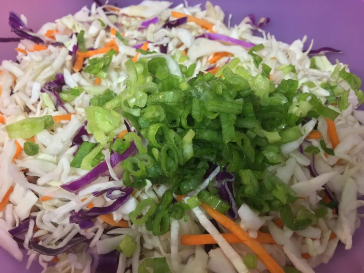 A purple mixing bowl with tri-colored coleslaw in the bowl along with chopped green onion.