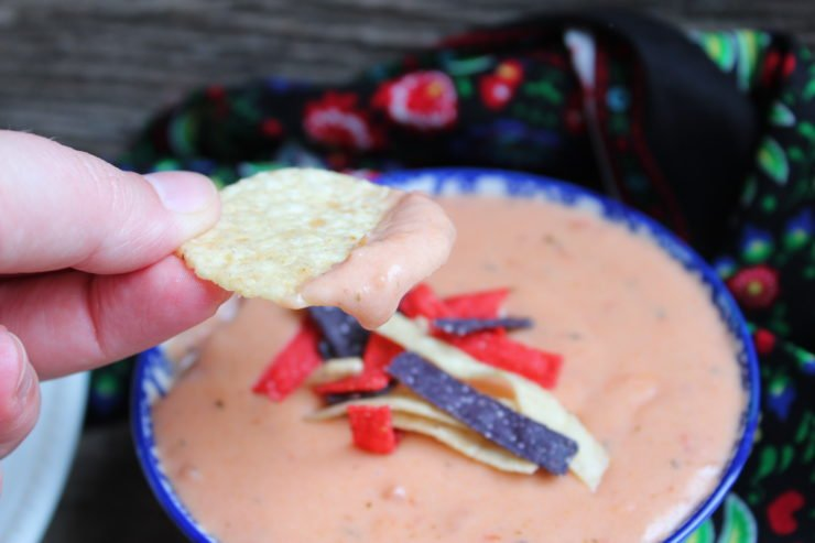 Tex Mex Queso Blanco Dip in a blue and white floral bowl with a white plate of white corn tortilla chips to the right and a multi colored floral towel wrapped around the bowl of cheese dip. Everything is sitting on a board back drop. A hand is holding a chip that has Queso Blanco Dip on it on the left hand side.