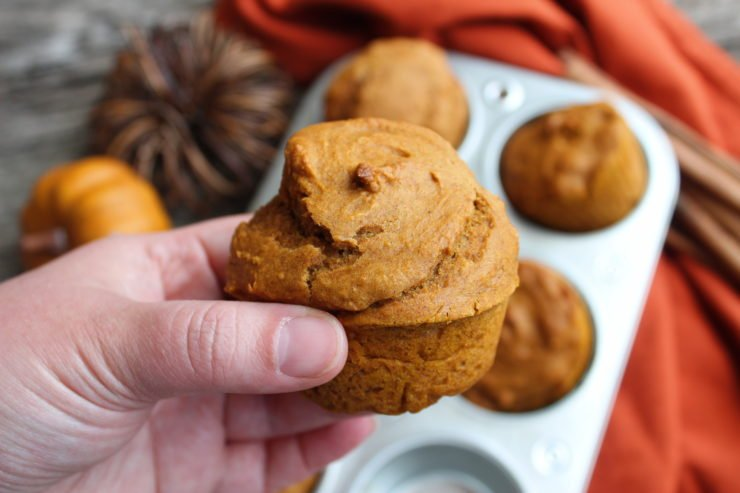 A hand holding a Three Ingredient Pumpkin Muffin with a muffin tin filled with muffins in the background along with two artificial pumpkins, some cinnamon sticks, an orange towel and a wood backdrop.