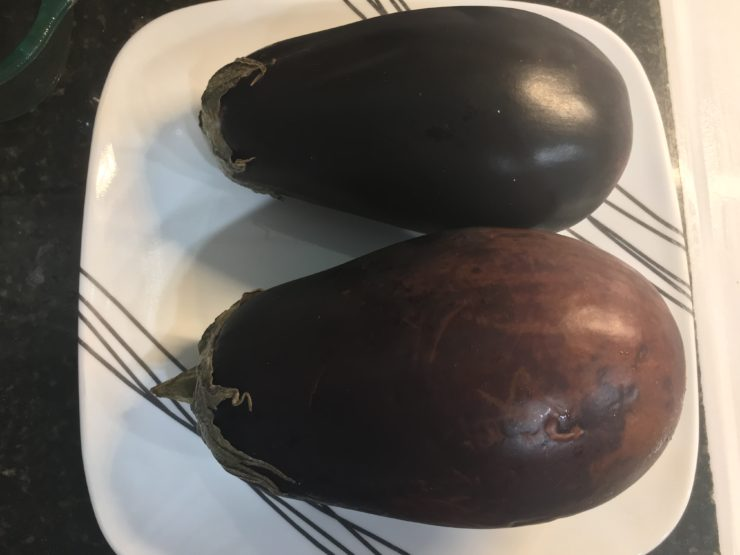A white plate with black stripes and two very large eggplants on the plate.