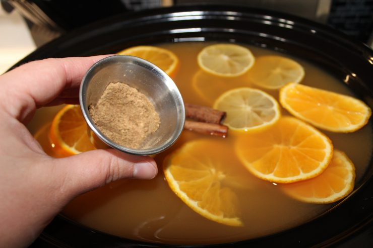 A black slow cooker filled with apple cider and sliced oranges, lemons, and two cinnamon sticks. A white hand is coming out of the left hand side of the frame holding a small silver container filled with ground spices. The spices are about to be added to the slow cooker.